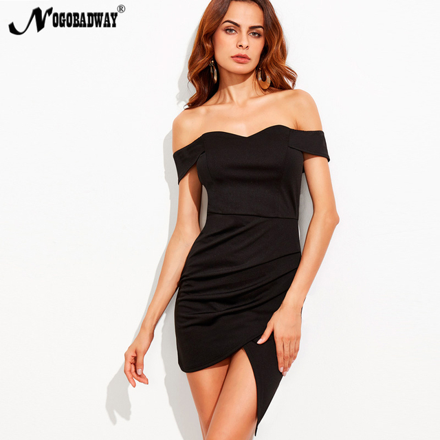 e46fb2c6bf5d NOGOBADWAY 2018 Off Shoulder Short Dress Women Sex Bandeau Bodycon Dresses  Desigual Slim Mini Vestidos Knitted Lady Clothing new