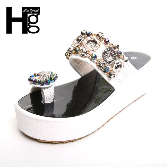 6b4902cbd HEE GRAND Bling Bling Crystal Women s Flip Flops Fashion Summer Style  Platform Slippers for Woman XWT697