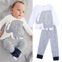 Newborn Baby Toddler Boy Elephant Tops Striped Pants Outfit