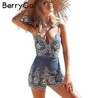 BerryGo Emboridery Strap Summer Jumpsuit Romper V Neck Zipper Elegant Jumpsuit Women Floral Playsuit 2017 Sexy