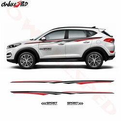 Etiqueta engomada del coche rayas largas gráficos Auto puerta cintura línea decoración calcomanía accesorios del cuerpo pegatinas para Hyundai Creta tufson IX35 KONA
