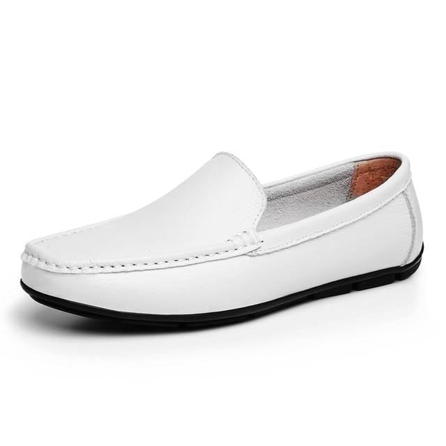 686620c76273be placeholder JUNJARM 2018 Men Flat Shoes Quality Split Leather Men Loafers  Solid Black Breathable Slip-On