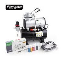 Ship from Netherlands warehouse airbrush fengda FD 186KN oil free mini air compressor airhose clean brush ink body paint