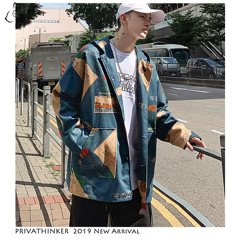 Privathinker Streetwear 2019 Man Woollen Cloth Jackets Mens INS Windbreaker Jackets Male Autumn Korean Print Oversize Jackets(China)