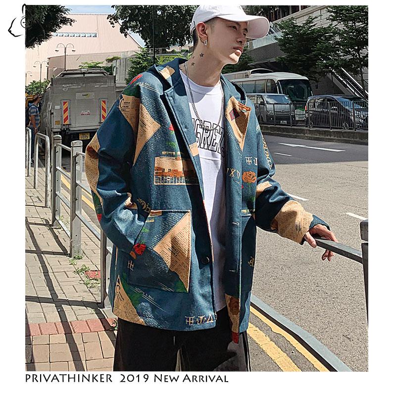 Privathinker Streetwear 2019 Man Woollen Cloth Jackets Mens INS Windbreaker Jackets Male Autumn Korean Print Oversize Jackets(China)