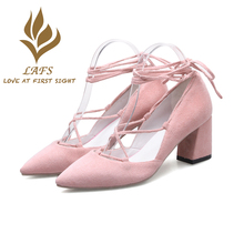 SexeMara 2017 Spring Autumn Handmade Genuine Leather Women Pumps Faux Suede Comfortable High Heel Woman Shoes