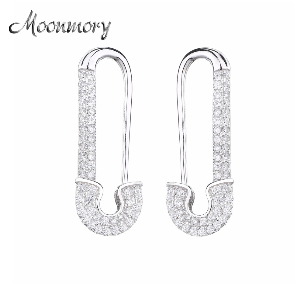 Moonmory 2019 Women Safety Pins Earrings 925 Sterling Silver CZ Top 10 Original Design Micro CZ Pave Triangle Ear Cuff Earring