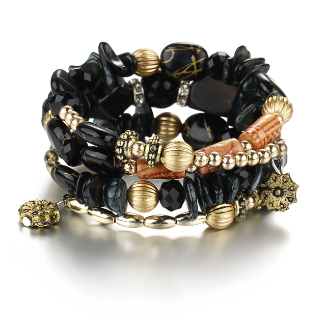 brixini.com - Boho Multilayer Resin Bead Charm Bracelets