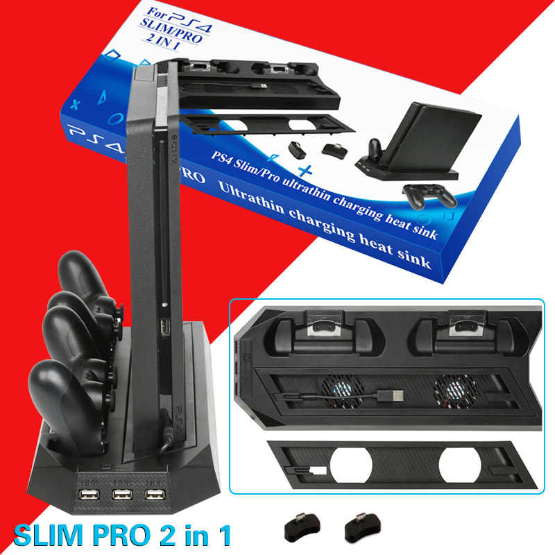 PS4 2 Di 1 Berdiri Vertikal dengan Dual Controller Pengisian Stasiun Dock 3 HUB Port Kipas Pendingin untuk Sony PlayStation 4 PS4 Slim PRO