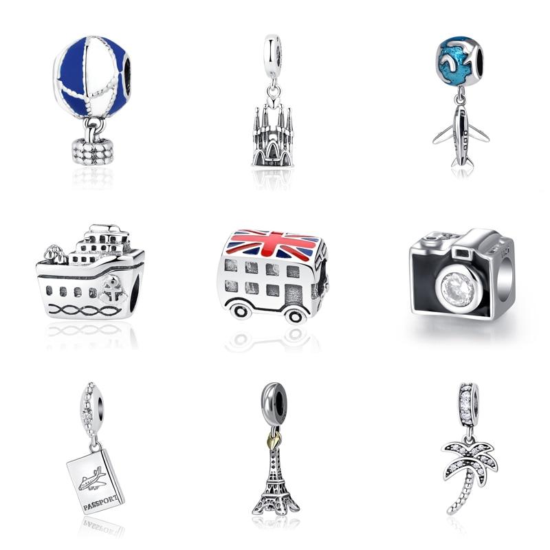 Original 100% 925 Sterling Silver Bead Charm Fit Pandora Bracelets Love Travel Palm Tree Eiffel Tower Charms Women Diy Jewelry eiffel tower charm bangle