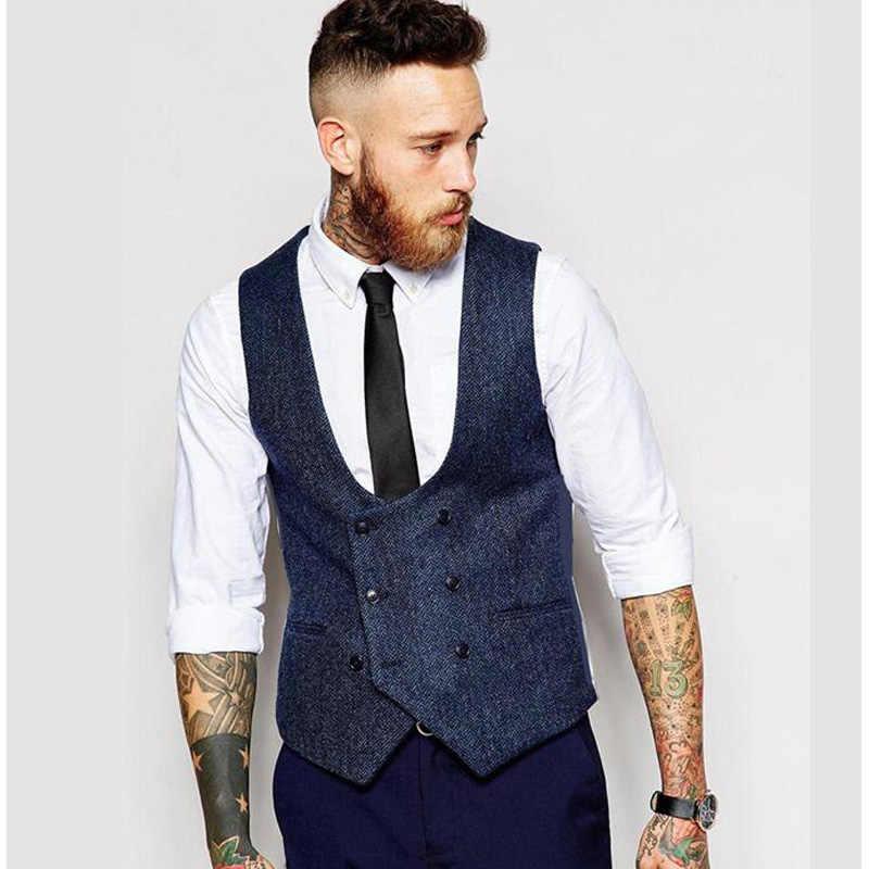 New British Style Slim Woollen cloth Double Breasted Sleeveless Jacket  Waistcoat Men Suit Vest Men\u0027s Vests
