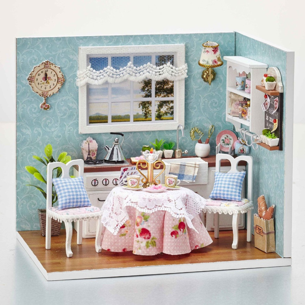 DIY Wooden Doll House Toy Dollhouse Miniature Assemble Kit With LED Furnitures Handcraft Miniature Dollhouse Happy Kitchen Model diy wooden handcraft miniature provence dollhouse voice activated led light