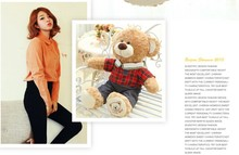 lovely plush brown teddy bear toy check sweater teddy bear doll boy bear toy gift doll about 80cm