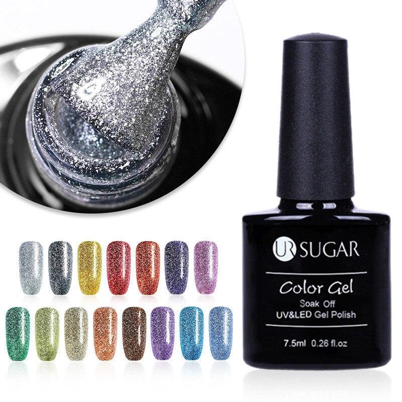 UR SUGAR 6 Pcs/set Bling Glitter Platinum Soak Off UV Gel Polish Luxury Shining Varnish Gel Nail Art Manicure Gel Lacquer Set
