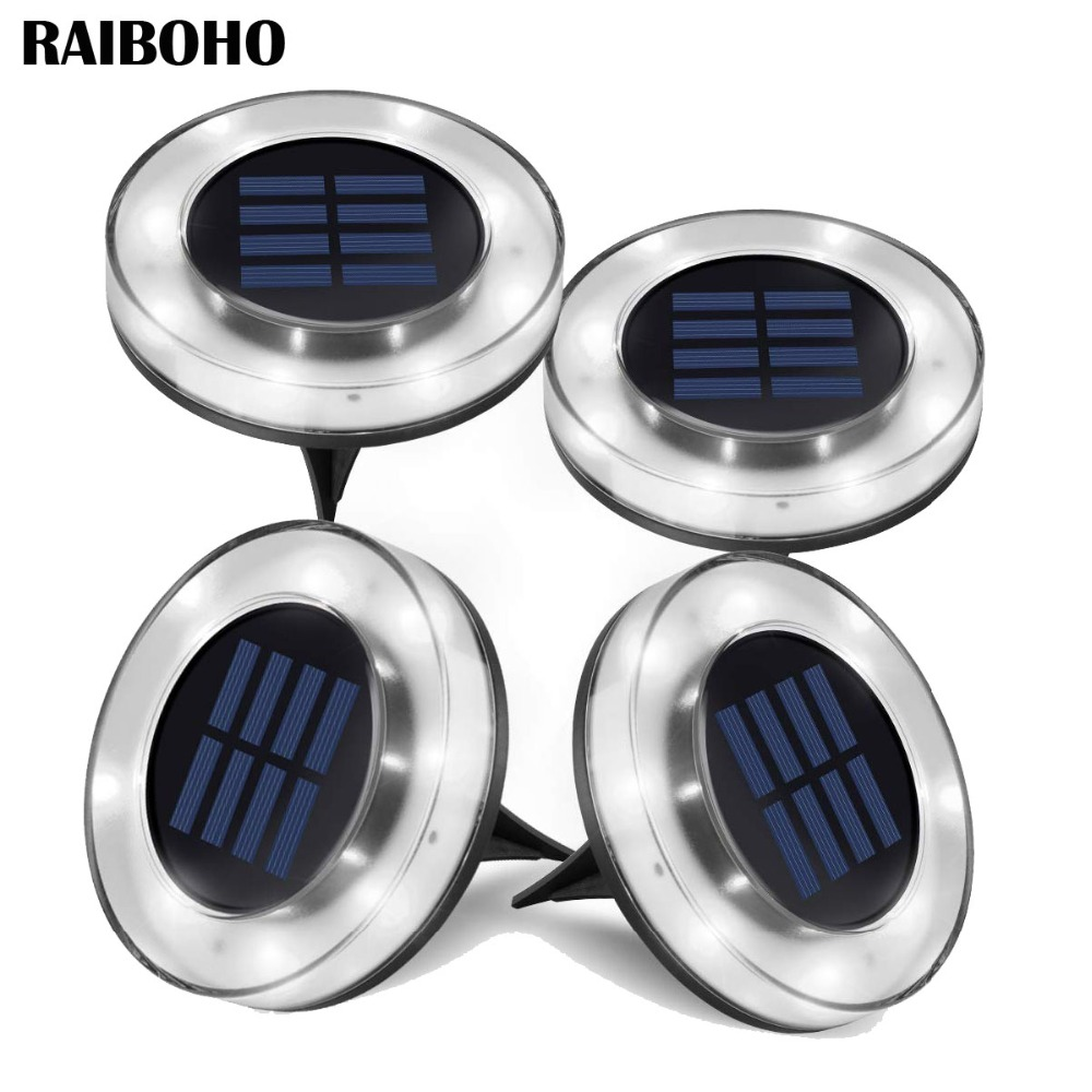 Solar In Ground Garden Lights Outdoor 8 LED Garden Waterproof Landscape Light for Patio Yard Lawn and Pathway White/Warm White Solar Lamps     - title=
