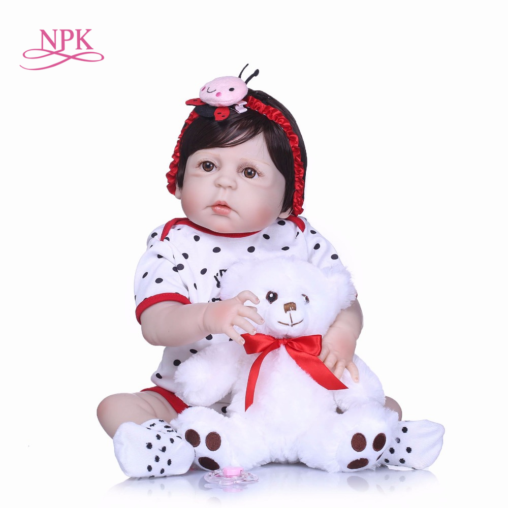 NPK 22 full body silicone reborn dolls boy girl doll reborn babies black hair magnetic mouth bath dolls children gift bonecas npk bebe gift realista reborn dolls 23 inch 57cm full silicone body reborn babies boy dolls children new year gift bath toys bon