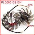 2 pçs/lote power logic pld08010s12h 74mm 40*40*40mm dc12v 0.25a 3pin para gigabyte graphics card refrigerador de refrigeração fã