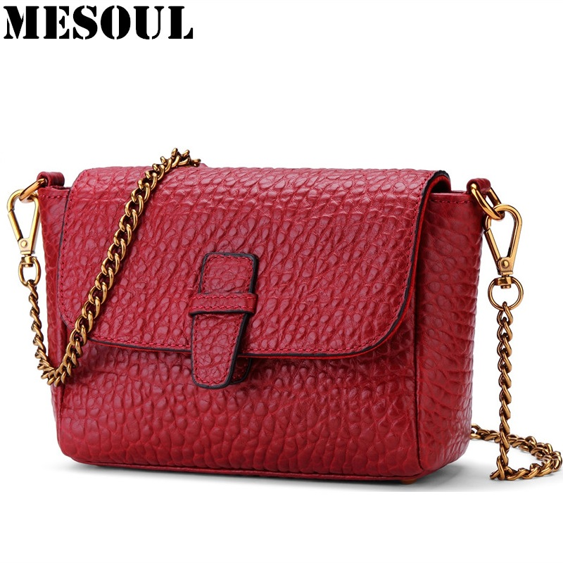 Brand Women Messenger Bag Genuine Leather Small Lady Crossbody Bag Fashion design Mini Purse Shoulder Bag Party Chains Women Bag alligator crocodile leather mini women crossbody bags small women bag sling lady messenger shoulder bag purse lady handbag