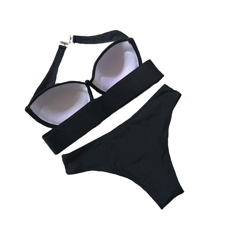 Black Bikini Set Bandeau Swimsuit Female Push Up Bikinis 2019 Mujer Swimwear Women Bathing Suit Biquini Bikini Brasileiro XL in Bikinis Set from Sports Entertainment