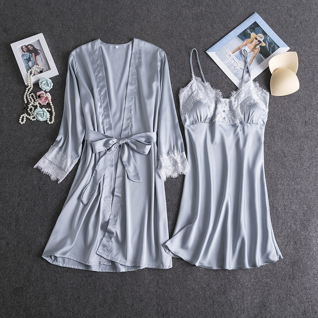 681312b3eb463 Femmes chinoises soie rayonne Mini Robe ensemble Sexy Kimono Robe de bain  solide intime Lingerie pyjama