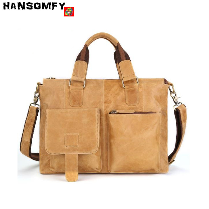 Crazy horse leather men shoulder Bag business fashion men briefcase retro Genuine Leather handbag Laptop Messenger crossbody bag retro crazy horse genuine leather bag business laptop bag briefcase men leather crossbody bag shoulder messenger men tote bag