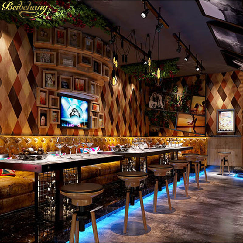 beibehang KTV box hotel clothing store wallpaper 3D simulation rhombus lattice imitation tile TV background wall paper beibehang roof black white square checkered 3d wall paper salon shop clothing store restaurant checkout ktv background wallpaper