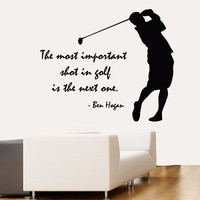 Vinyl Wall Decal Golfter Boy Golf Player Quote Lettering Sport Golf Art Wall Sticker Golf Centre Wall Sticker Bedroom Decoration