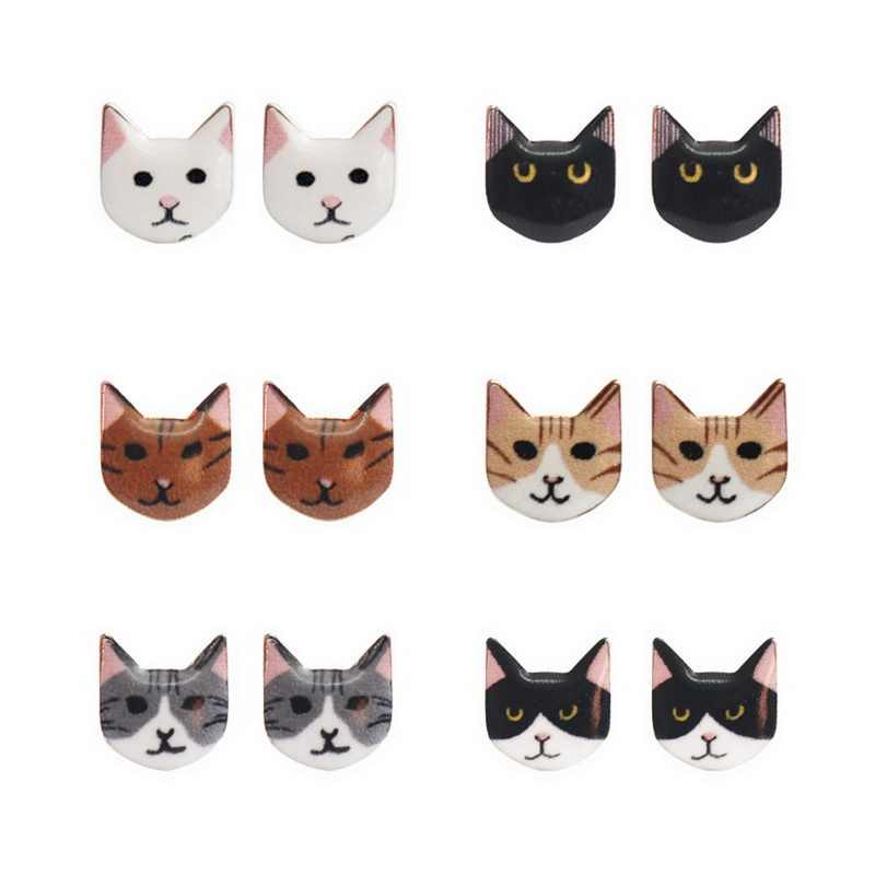 LASPERAL Fashion Lovely Classic Cartoon Earrings Animal Korean Cute Solid Cat Stud Earrings For Women Kids Girls Gift Jewelry