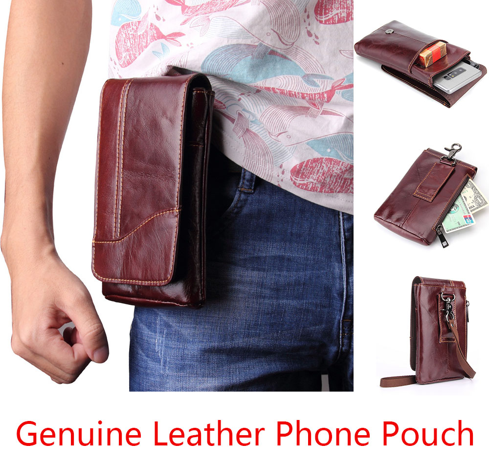 for Cubot Power Pouch Genuine Cow Leather Mini Casual Men's Waist Belt case Phone bag for Cubot P20