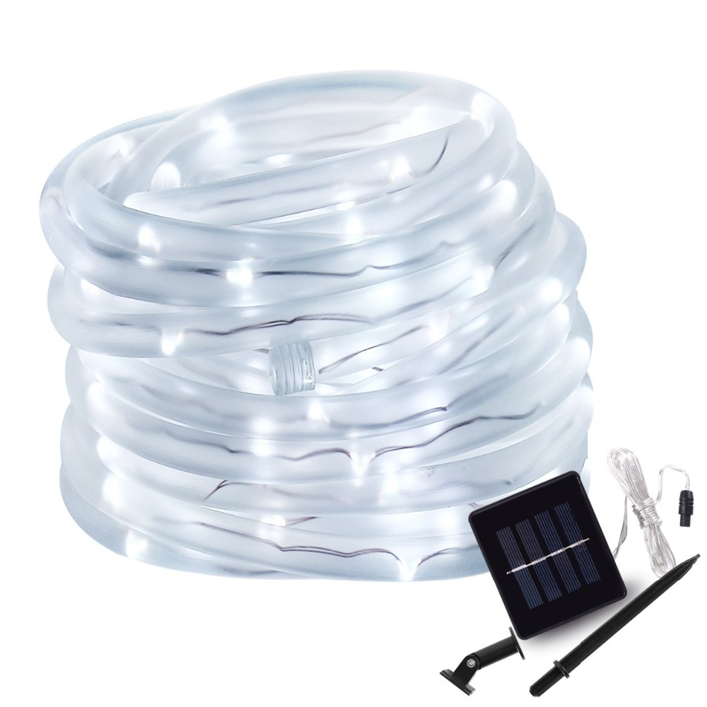 50 100 Led Solar Rope Tube String Lights Solar font b Power b font Patio Lights