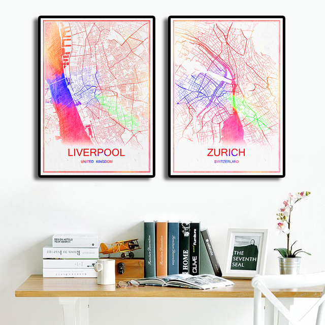 Travel city world abstract map poster modern print picture bar cafe pub wall sticker home decor