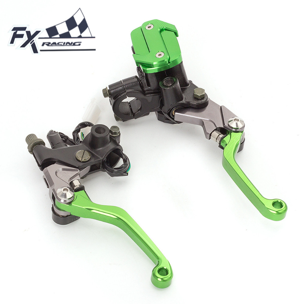 Fx CNC 7/8 Dirt Pit Bike Motocross Brake Clutch Lever Master Cylinder For 50-550CC Kawasaki KX 65 85 125 250 ZXR250 KLX125 KDX universal for kawasaki ninja 250r 1988 2012 cnc motocross off road clutch brake master cylinder reservoir levers dirt pit bike