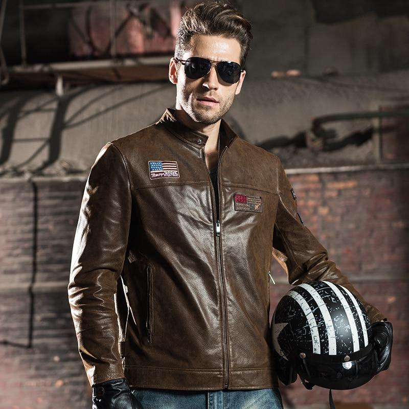 2016 Hommes veste en cuir véritable peau de porc de moto Véritable veste En Cuir  hommes ef8cd8141a6