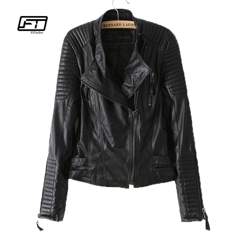 Fitaylor New 2019 Women Pu Leather Jacket Fashion Motorcycle Coat Female Rivet Long Sleeve Short Design Stand Collar Basic Coat