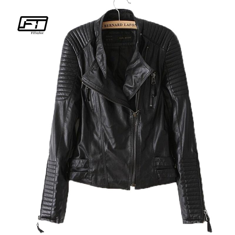 new autumn winter women PU leather jacket fashion Motorcycle coat female rivet long sleeve short design stand collar basic coat