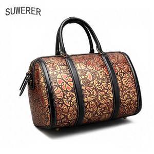 c6a9c2be89 SUWERER leather handbag embossed female retro messenger bag