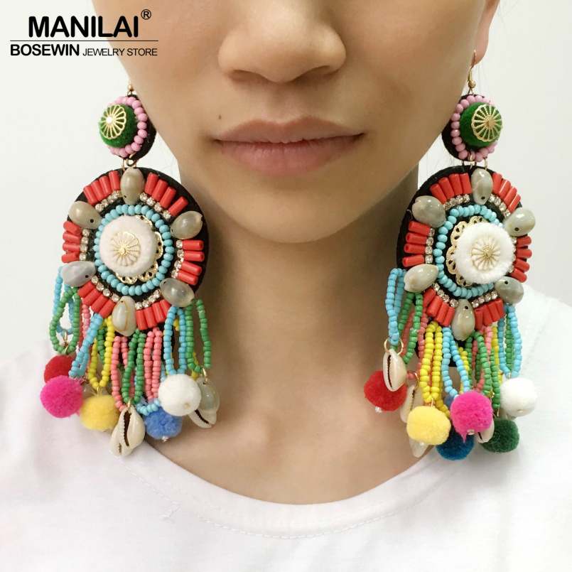 MANILAI Multicolor Pom Pom Beaded Tassel Earrings Boho Jewelry Ethnic Statement Dangle Drop Earrings With Shell Big Pendientes