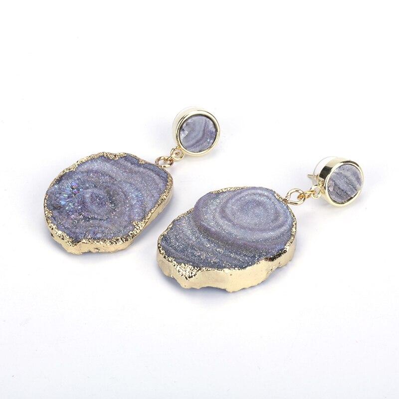 Горячая Распродажа натуральный Друза камень крючок серьги Кристалл Висячие серьги драгоценный кварцевый камень женские серьги свадебный подарок