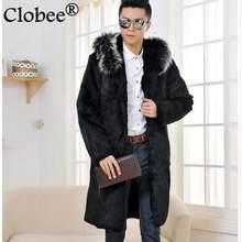 Men faux fur long coat winter outwear 2019 thicken faux mink fur black jackets coats plus size leather jackets with hood WR653(China)
