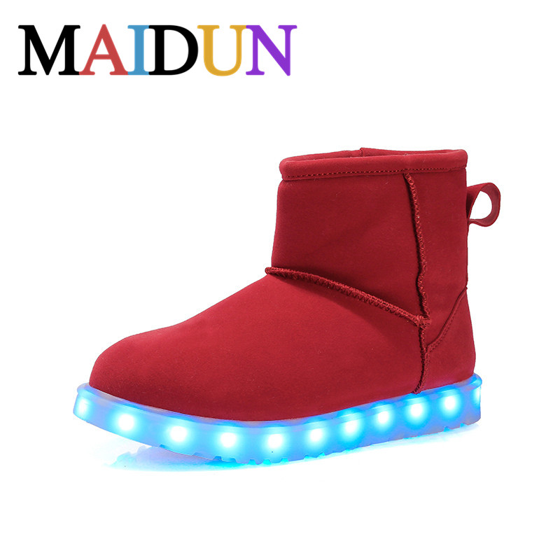 ФОТО LED Shoes woman snow boots warm boots plush Light Up Luminous high top shoes women winter Superstar Hot Fashion colorful Casual