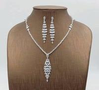 Zirconium CZ Stone fashion necklace earrings set accessories fashion women's jewelery