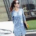 Весна и осень материнства куртки джинсовые рубашки хлопка печати середина длинный жакет беременных куртки плюс размер женщин джинсовые рубашки