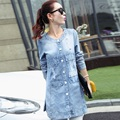 Spring and autumn maternity jacket denim shirts cotton print mid long jacket pregnant jackets plus size women's denim shirts