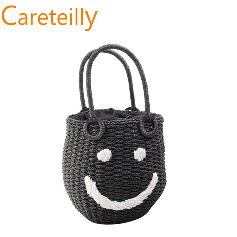 Straw Hand Woven bucket Beach Bag for Women , Smiley Face Drawstring Lovely Summer Beach Handbag