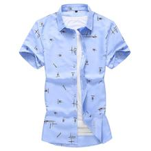 Large size M-7XL Casual Flower Men Shirt Fashion Short sleeve Mens Dress Shirts Beach style Clothes Slim Summer