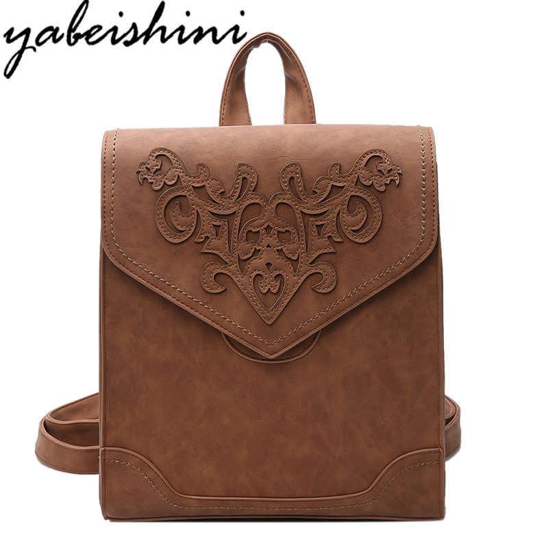 2017 hot Women Backpack High Quality PU Leather Sac A Main Embroidery Bags For Teenagers Girls Top-Handle Large Capacity Package