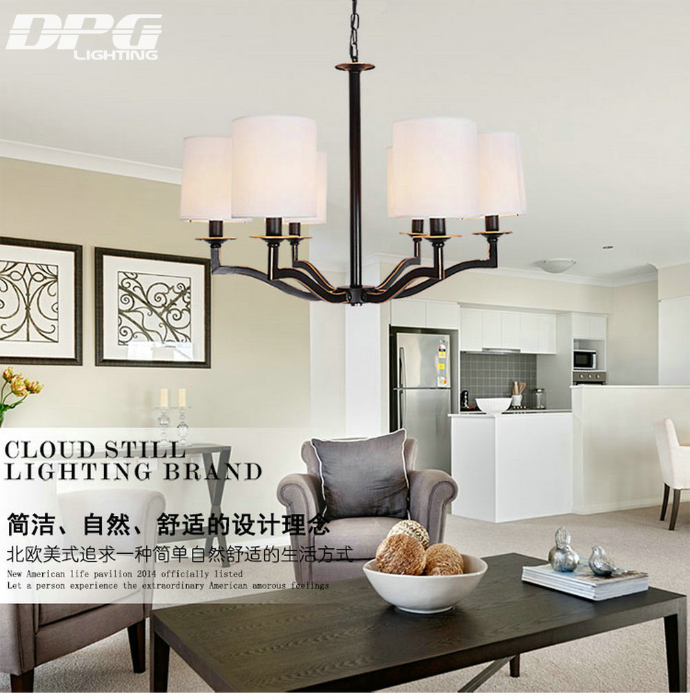 Chandelier Lights with black Iron LED E14 Ceiling White Shade ...