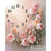 Настенные часы с розовой розой 5d алмазная вышивка крестиком 50x60 см для украшения дома 3d Стразы Алмазная мозаика вышивка