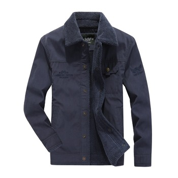 Tace & Shark Jackets Men moda hombre 2018 Military Style Turn-down Collar Autumn Fleece Jacket Cotton-padded Middle-aged coat
