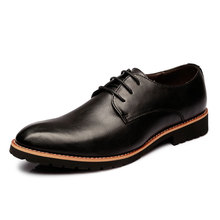 Men Formal Derby Shoes Genuine Leather British Style Dress Wedding Shoes